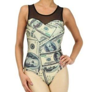 sexy dollar bill top money shirt sheer bodysuit